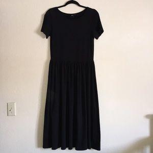 ASOS Black Maxi Drop Waist Jersey Dress 10